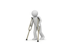 Injured man on crutches Stock Photography