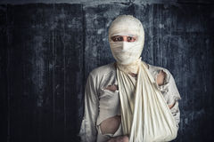 Injured Man with Head Bandages Royalty Free Stock Image