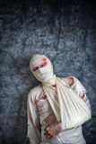 Injured Man with Head Bandages Royalty Free Stock Photography