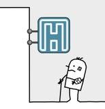 Injured man & hospital sign. Hand drawn cartoon characters - injured man & hospital sign Stock Photography