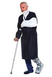 Injured man isolated on white Royalty Free Stock Photo