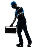 Injured manual worker man with injury brace despair silhouette Royalty Free Stock Photo