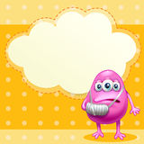 An injured monster near the empty cloud callout Stock Photography