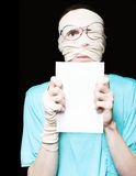 Injured Patient Holding Black Copyspace Board Stock Photos