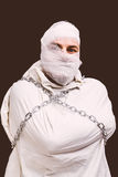 Injured patient in straitjacket Royalty Free Stock Photo
