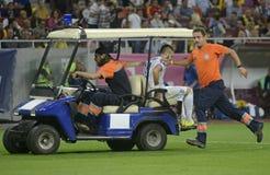 Injured player on car Royalty Free Stock Photos