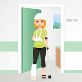 Injured Redhair Woman. Having head bandage, broken ankle and wrist cast walking with crutch vector illustration