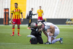 Injured rugby player Royalty Free Stock Images