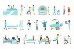 Injured And Sick Patients In The Hospital Receiving Medical Treatment From Professional Doctors And Nurses. People And Healthcare Set Of Illustrations With Men stock illustration