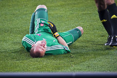 Injured Slovakian Goalkeeper Royalty Free Stock Photo