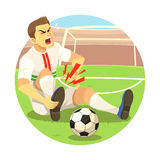 Injured Soccer Player. Soccer player got injured on his foot Royalty Free Stock Images