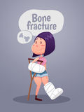An injured woman with leg and arm in plaster using crutches. Flat design. Stock Image