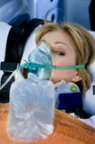 Injured Woman With Oxygen Mask Stock Photos