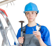 Injured worker stock photography