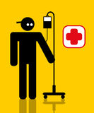 Injured worker with drip. Injured worker with a portable drip attached to his arm stock illustration