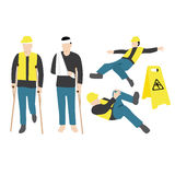 Injured worker. Vector illustration of injured worker vector illustration