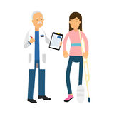 Injured young brunette woman with leg in a plaster talking to a doctor colorful  Illustration Stock Image