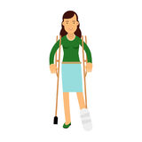Injured young brunette woman with leg in plaster using crutches colorful  Illustration Royalty Free Stock Photos