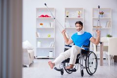 The injured young man recovering at home Royalty Free Stock Photos