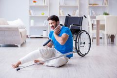 The injured young man recovering at home Stock Image