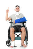 Injured young man in wheelchair Stock Photography