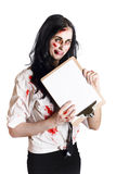 Zombie woman with clip board Stock Images