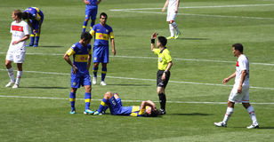 Injuried player during a match Royalty Free Stock Image