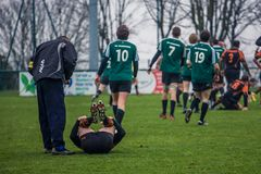 Injuries in rugby Royalty Free Stock Photos