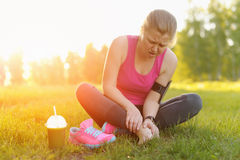 Injuries - sports running knee injury on woman. Royalty Free Stock Photo