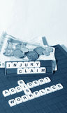 Injury claim. Concept with key words and cash compensation royalty free stock photos
