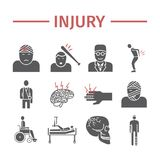 Injury flat icons set. Infographic. Vector signs for web graphics. Injury flat icons set. Vector signs for web graphics Stock Photos