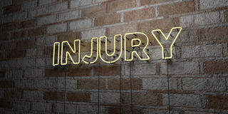 INJURY - Glowing Neon Sign on stonework wall - 3D rendered royalty free stock illustration. Can be used for online banner ads and direct mailers Stock Images