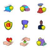 Injury icons set, cartoon style. Injury icons set. Cartoon illustration of 9 injury vector icons for web Royalty Free Stock Image