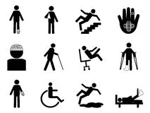 Injury icons set. Isolated Injury icons set from white background Stock Photos