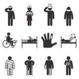 Injury icons. Trauma and sickness Royalty Free Stock Photos