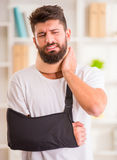 Injury man in doctor royalty free stock image