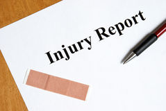 Injury Report Royalty Free Stock Photo