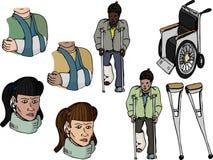 Injury Set I. Nine various injury-related illustrations with diverse ethnic representation Stock Images