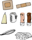 Injury Set II. Eight drawings of first-aid supplies and wounded knee in different skin colors Stock Photo