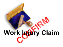 Injury. Top view of a rubber stamp with a giant word Work injury claim - confirm    isolated on white background Royalty Free Stock Image