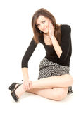 Injury. Woman holding on leg, full length Royalty Free Stock Photography