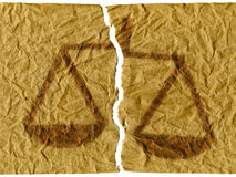 Injustice. Sheet of torn paper to the computer reworked Stock Image