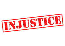 INJUSTICE. Red Rubber Stamp over a white background Stock Photos