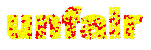 ` injusto del ` hecho de tarjetas amarillas rojas y Fotografía de archivo