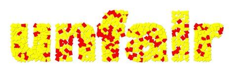 ` injusto do ` feito de cartões vermelhos e amarelos fotografia de stock
