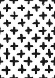 Ink abstract cross seamless pattern. Background with artistic strokes in black and white sketchy style. Design element Royalty Free Stock Photography