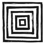 Ink Abstract Square Pattern. Background with artistic strokes in black and white sketchy style. Design element for Royalty Free Stock Images