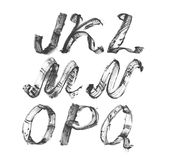 Ink alphabet J to Q, freehand, stylish, in raster. Illustration made with black dye, isolated on white, decorated. Upper case. Ras Stock Photos