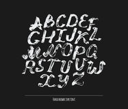 Ink alphabet A to Z, freehand, stylish. Illustration made with black dye, isolated on black white decorated letters. Upper case. L. Arge abc letters set good for Stock Image