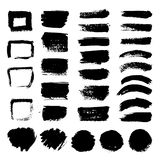 Ink black art brushes vector set. Dirty grunge painted strokes. Black paint and brush stroke dirty grunge illustration vector illustration